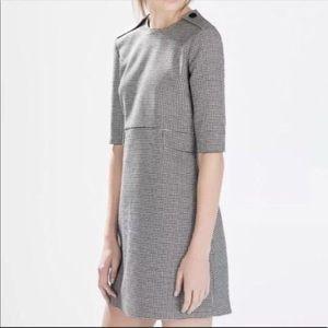Zara houndstooth button dress